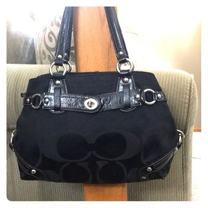 💕 Coach black medium satchel j0878-13300 nice 💕